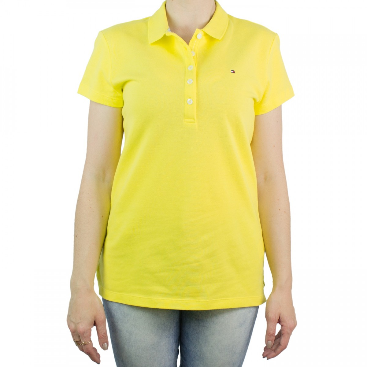 5d6f612878 Bizz Store - Camisa Polo Feminina Tommy Hilfiger Amarela Slim