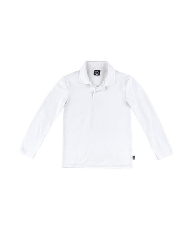 725eb38d12 Bizz Store - Camisa Polo Infantil Hering Kids Manga Longa Branca
