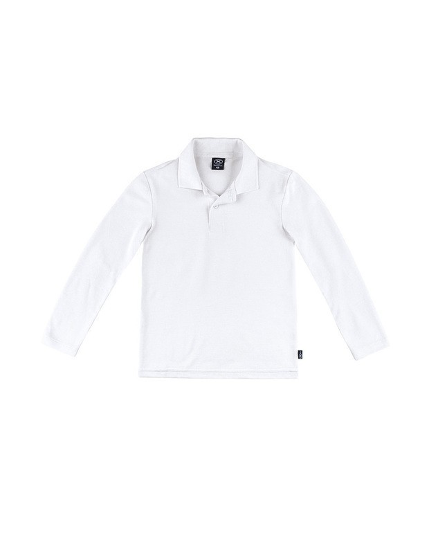 Bizz Store - Camisa Polo Infantil Hering Kids Manga Longa Branca 95b7b19cc11