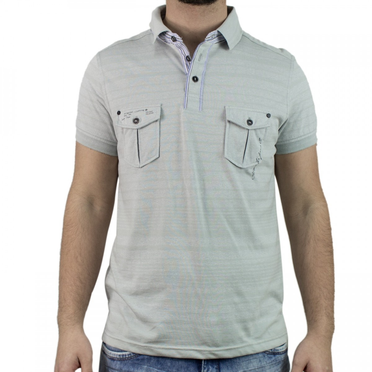 02b5b3f3df851 Bizz Store - Camisa Polo Masculina Gangster Manga Curta Cinza