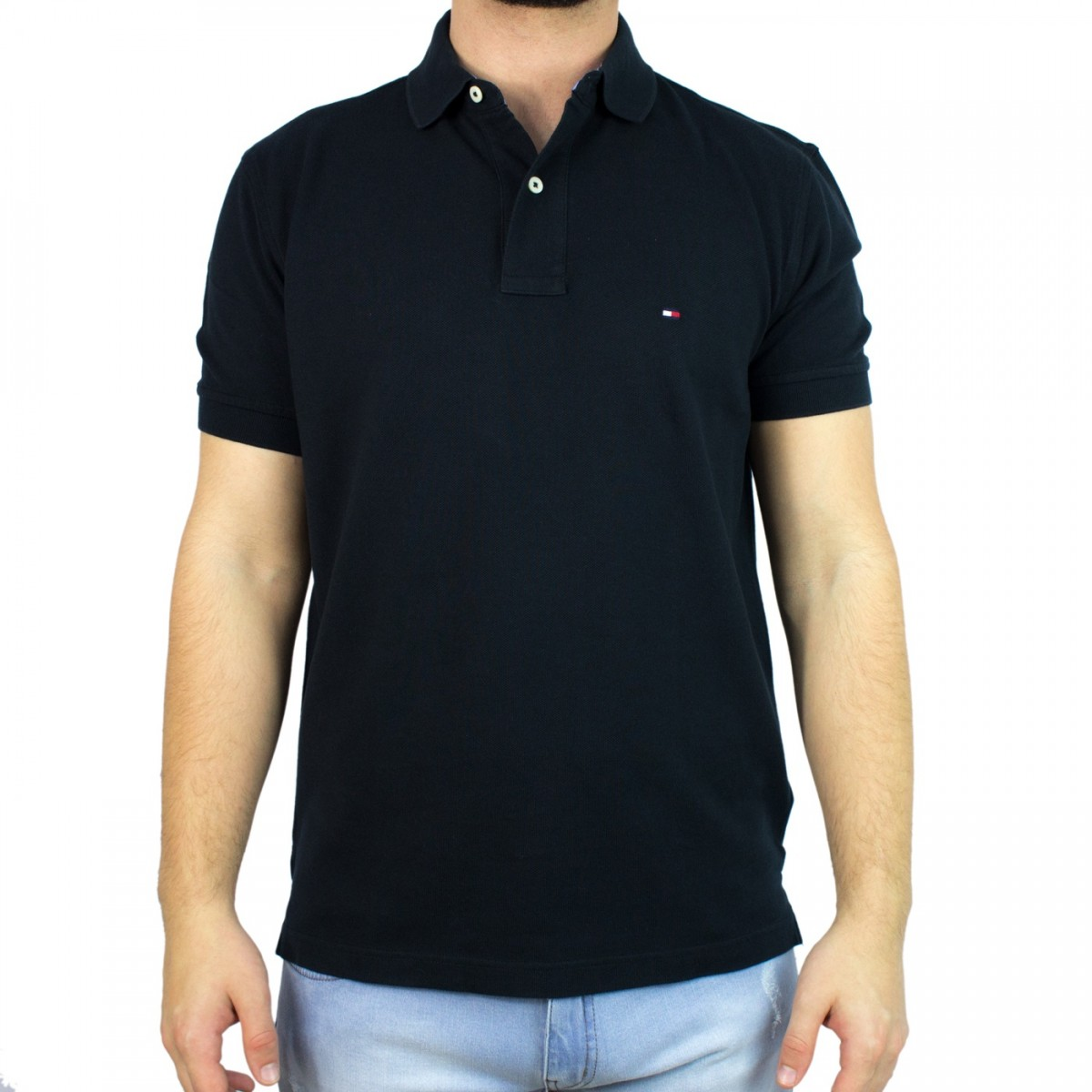 1953d85833 Bizz Store - Camisa Polo Masculina Tommy Hilfiger Preta