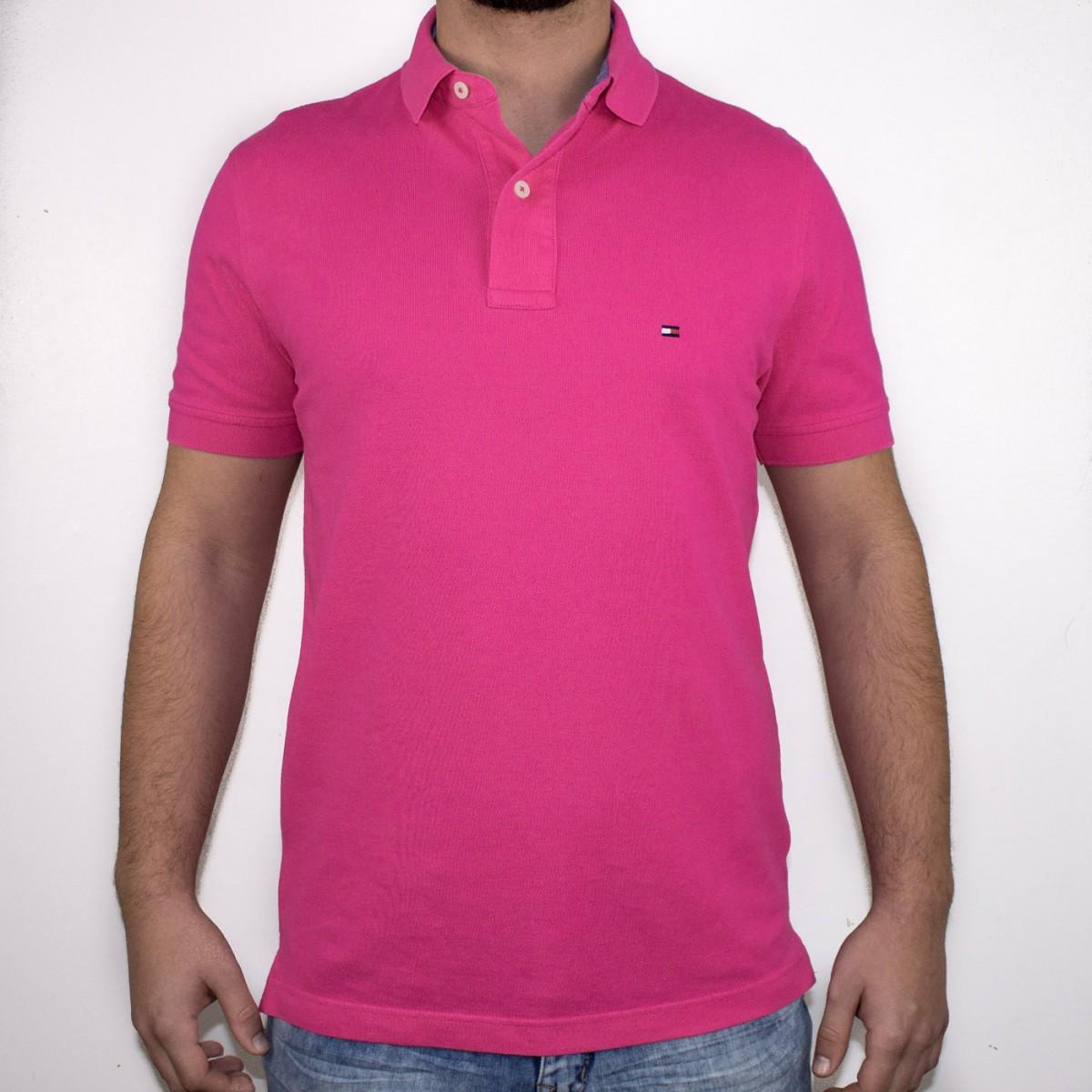 Bizz Store - Camisa Polo Masculina Tommy Hilfiger Manga Curta Rosa 021aa6ec0574b
