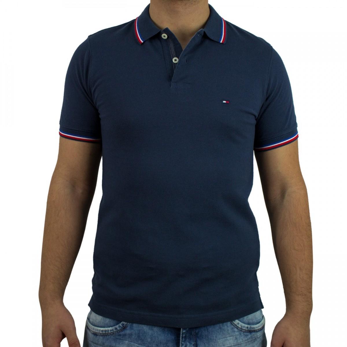 6266382e2 Bizz Store - Camisa Polo Masculina Tommy Hilfiger Marinho Slim