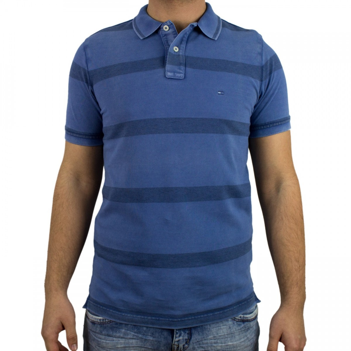 Bizz Store - Camisa Polo Masculina Tommy Hilfiger Slim Fit Azul 33850168120eb
