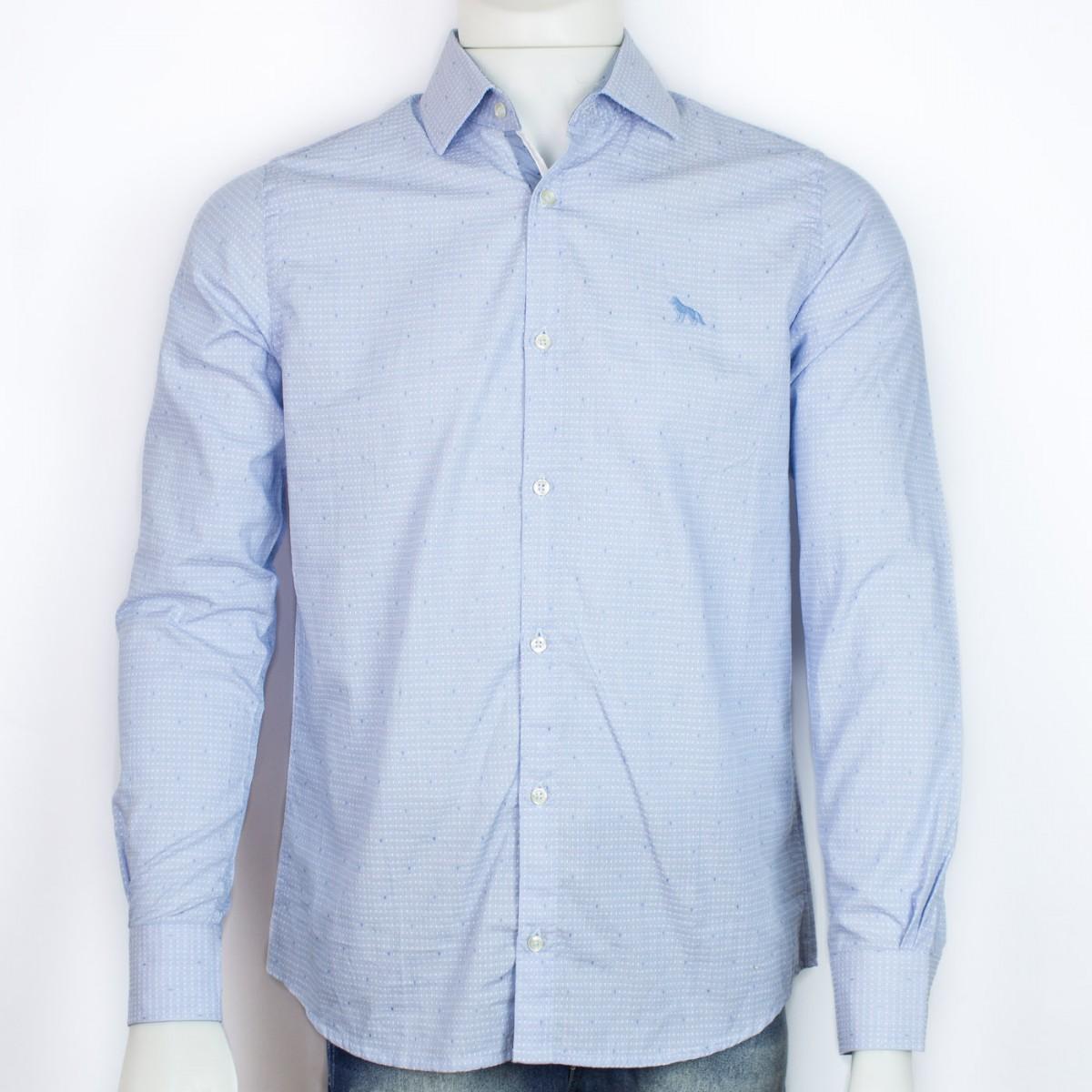 55d89b6e1c7a2 Bizz Store - Camisa Social Masculina Acostamento Manga Longa Azul