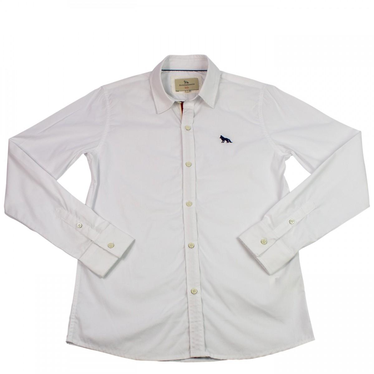 Bizz Store - Camisa Social Infantil Menino Acostamento Branca 1a359e8b13731