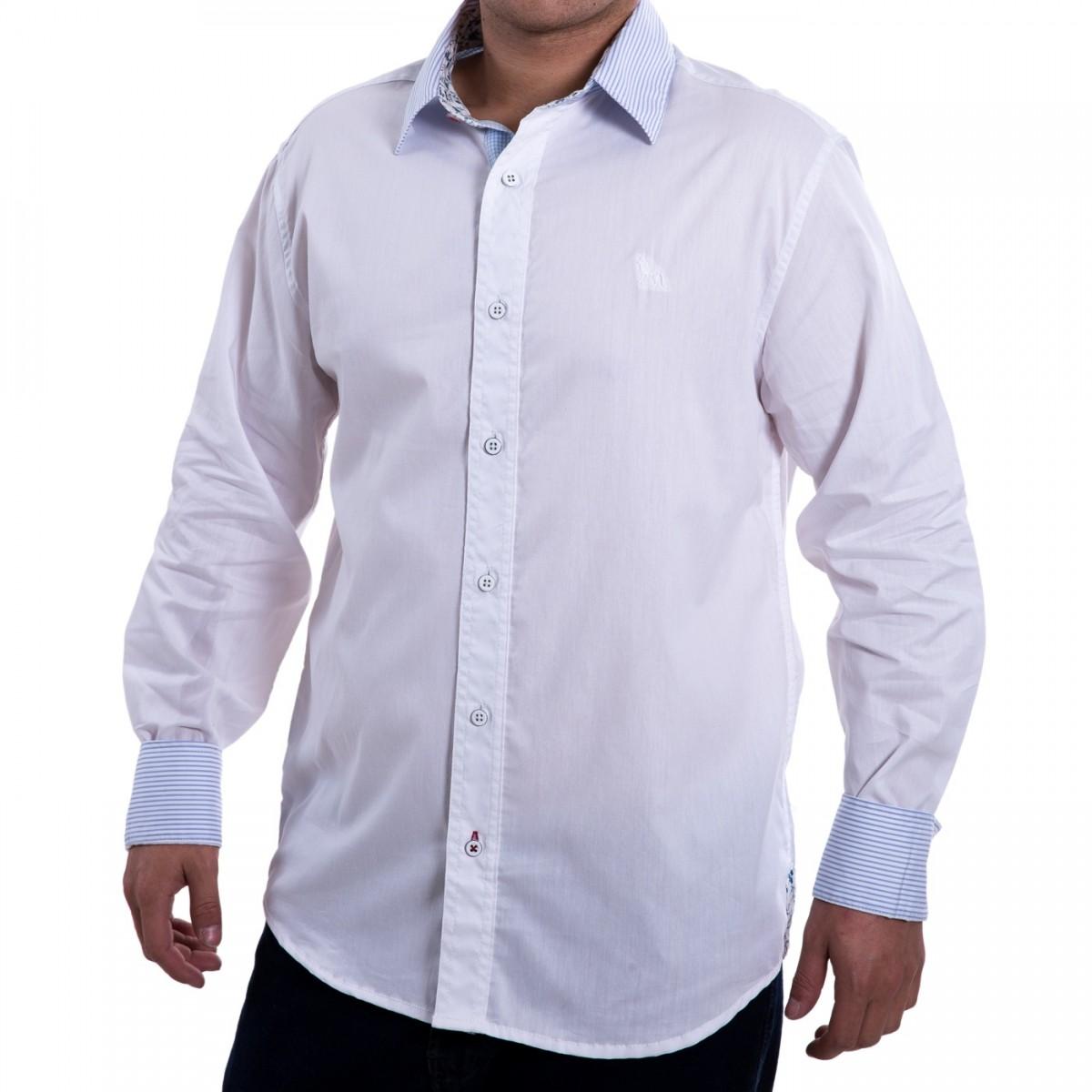 987417620c160 Bizz Store - Camisa Social Masculina Branca Manga Longa Acostamento