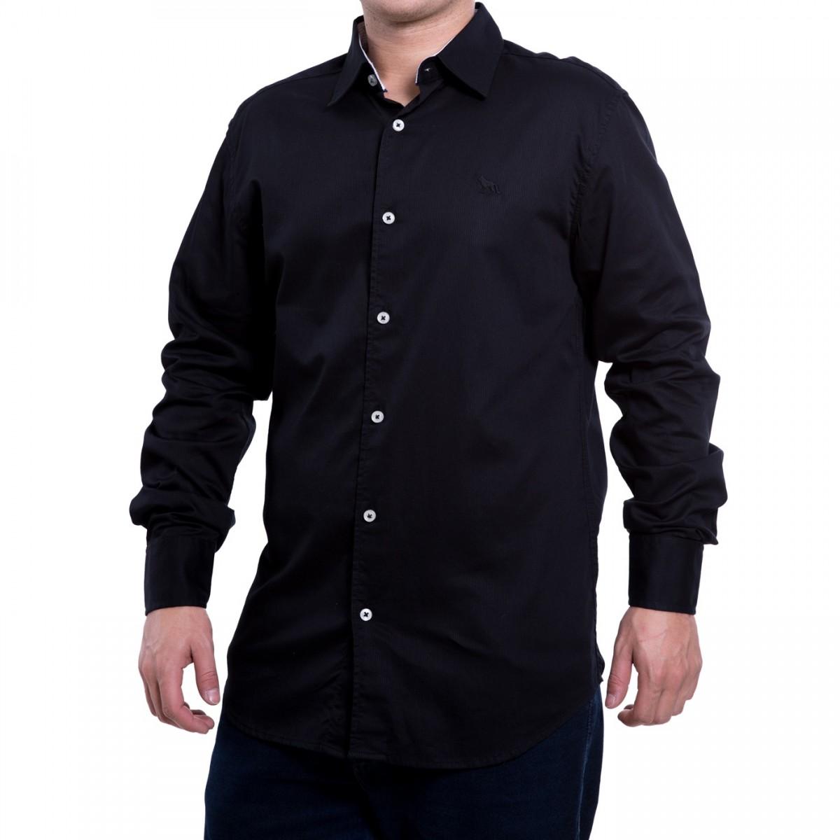 416fc82676f8a Bizz Store - Camisa Social Masculina Acostamento Manga Longa Preta