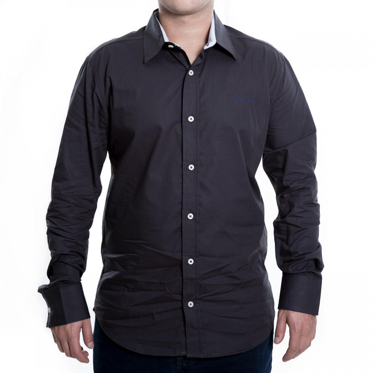7edf726853 Bizz Store - Camisa Social Masculina Acostamento Manga Longa Branco