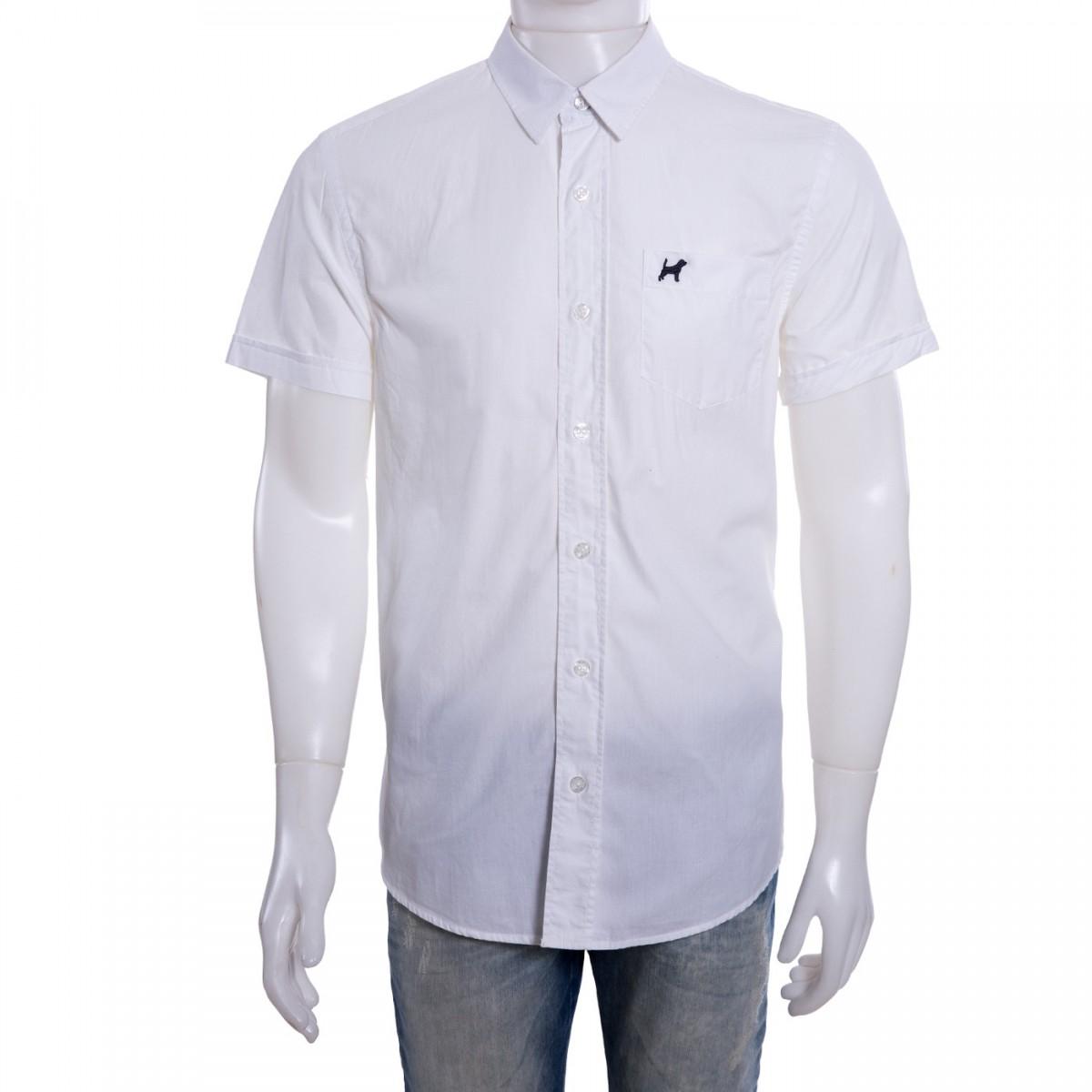 9a651b243e ... Bizz Store - Camisa Social Masculina Beagle Manga Curta Branca  c68bb4af16fc56 ...