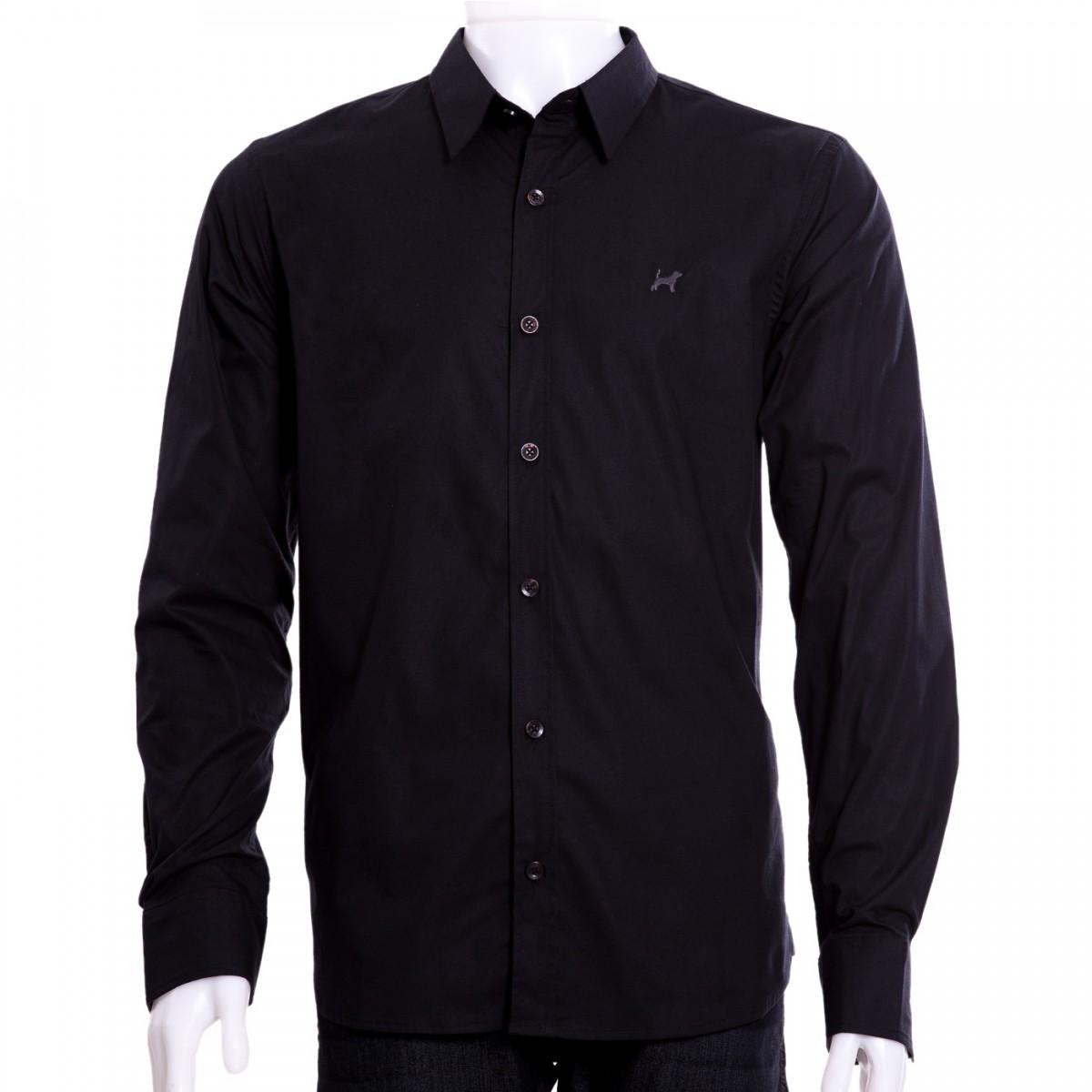 954f3d85b0 Bizz Store - Camisa Social Masculina Beagle Manga Longa Preto Azul