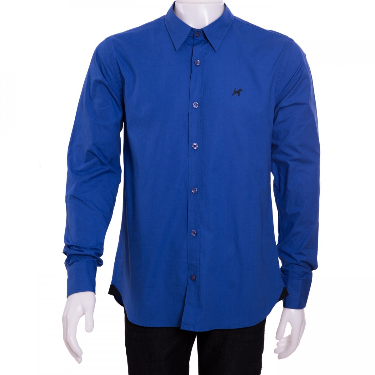 Bizz Store - Camisa Social Masculina Beagle Manga Longa Preto Azul 8dc832c6089