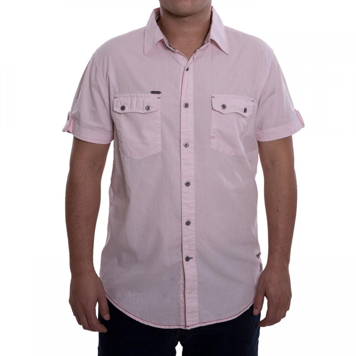 3b0a15c95 Bizz Store - Camisa Social Masculina Dixie Manga Curta Rosa/Azul