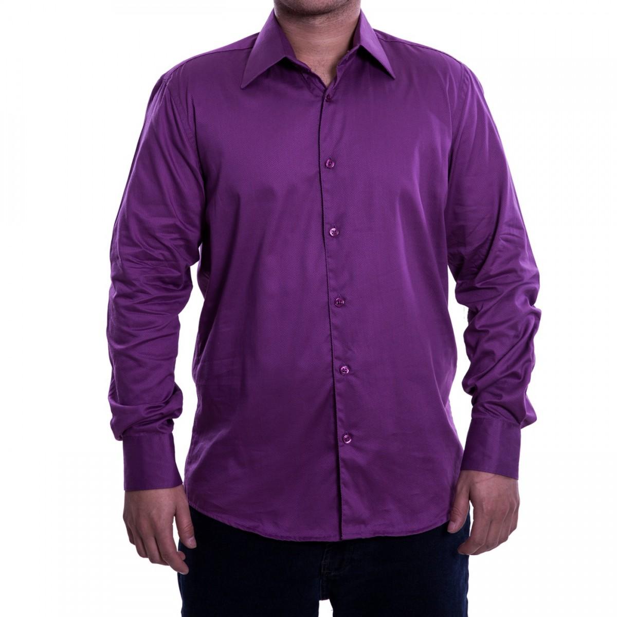 60def557c8 Bizz Store - Camisa Social Masculina Luiz Eugenio Slim Fio 50
