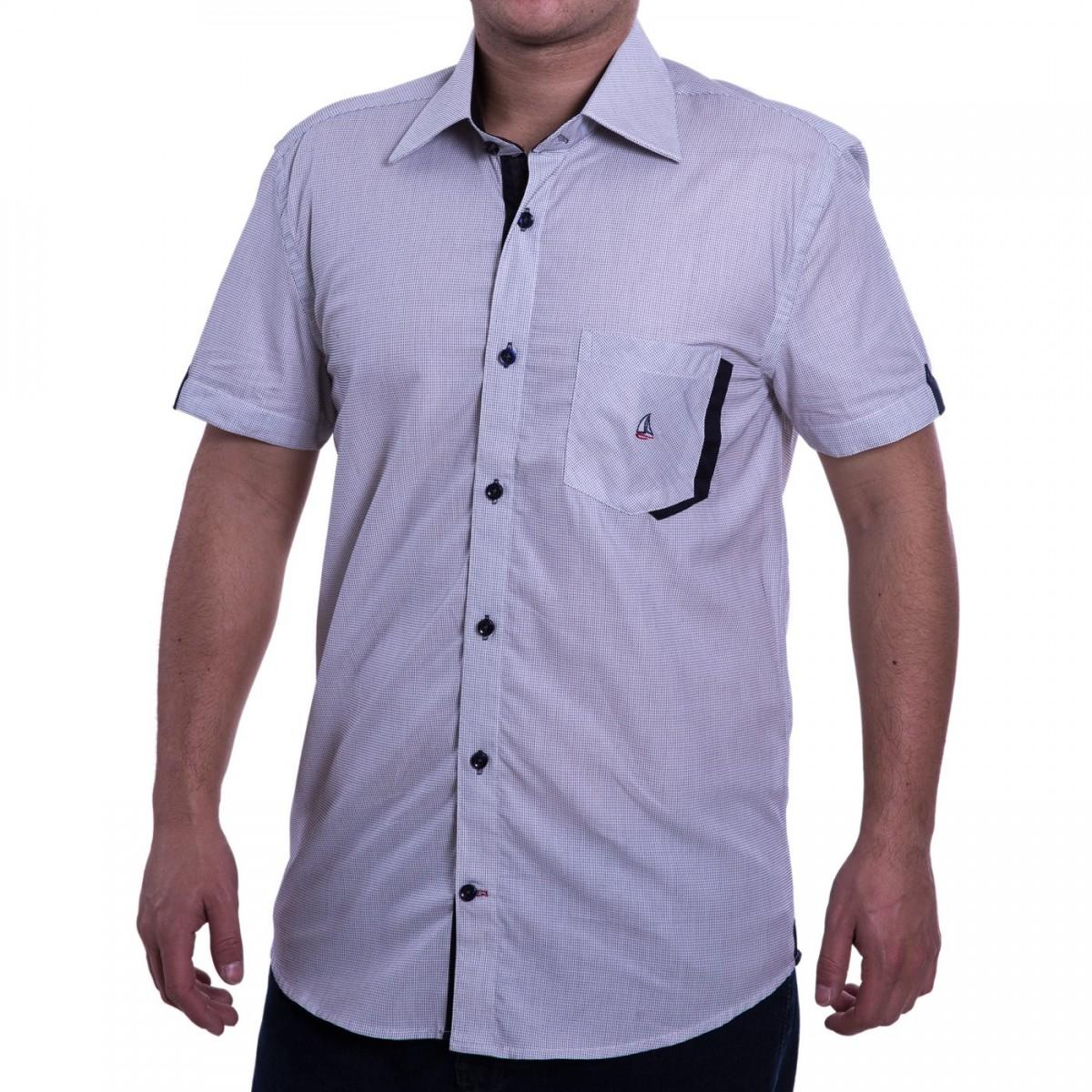 4d6ee81c15 Bizz Store - Camisa Social Masculina Porto CO Slim Manga Curta