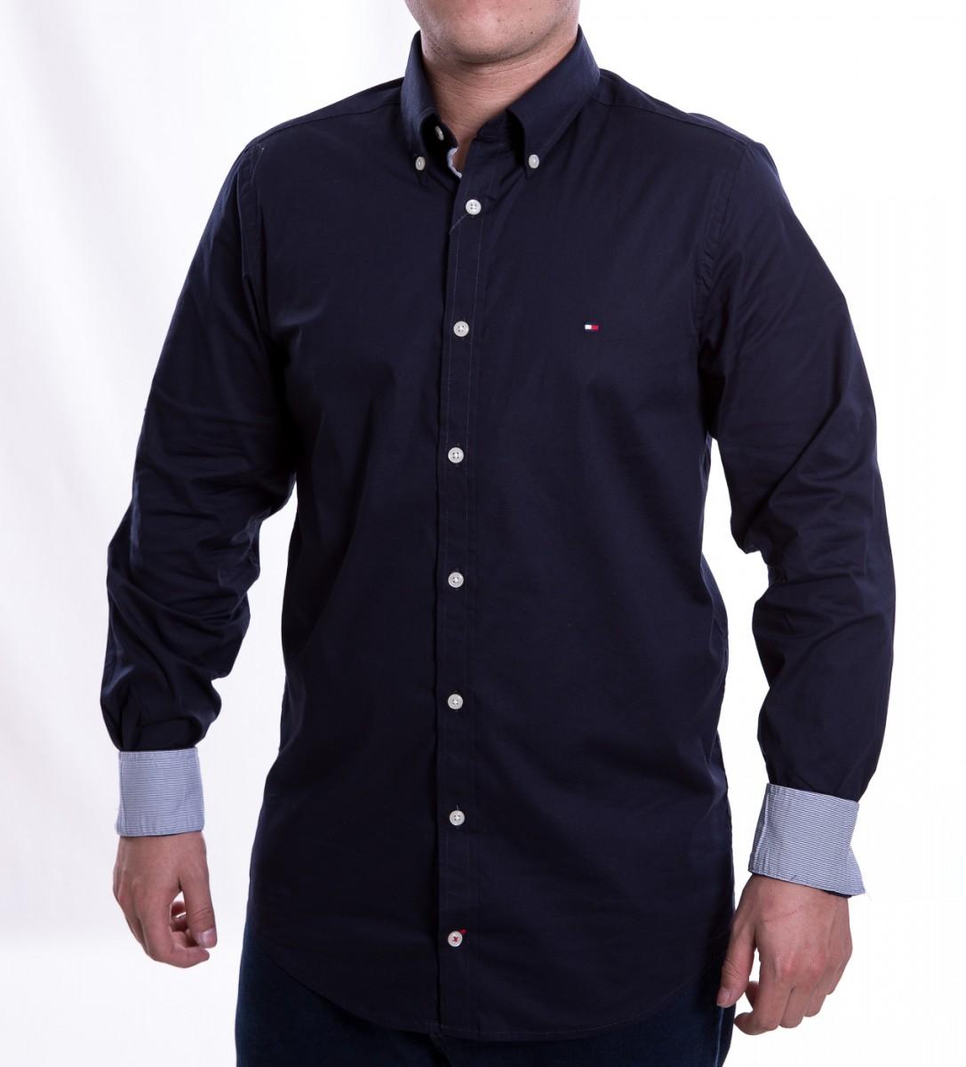 02924f054 Camisa Social Masculina Tommy Hilfiger Slim Th0857872321 - Marinho ...