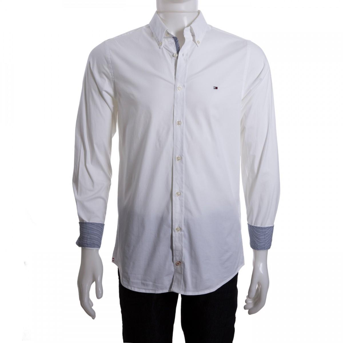 ff5748d39f Camisa Social Masculina Tommy Hilfiger Slim Th0857872321 - Branco ...