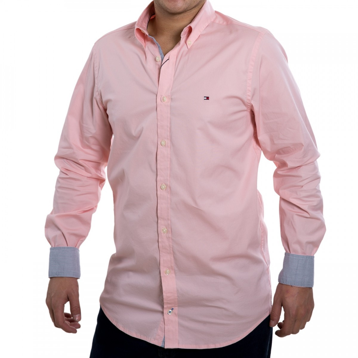 7ac89f855 Camisa Social Masculina Tommy Hilfiger Slim Th0857872321 - Rosa ...