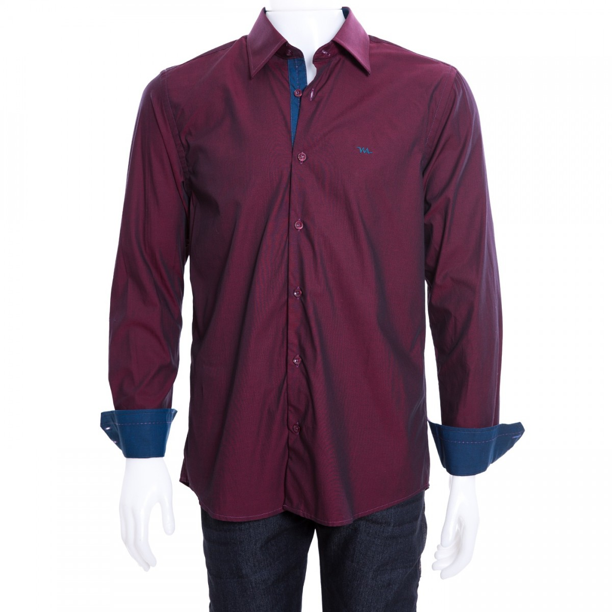 faadc99fb Bizz Store - Camisa Social Masculina W.Albann Slim Fio 50 Bordô