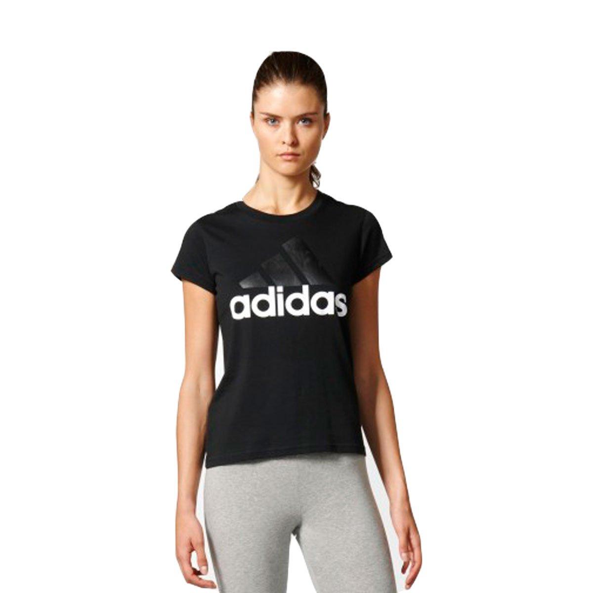 Bizz Store - Camiseta Feminina Adidas Essentials Linear Preta ec6f96a0bca