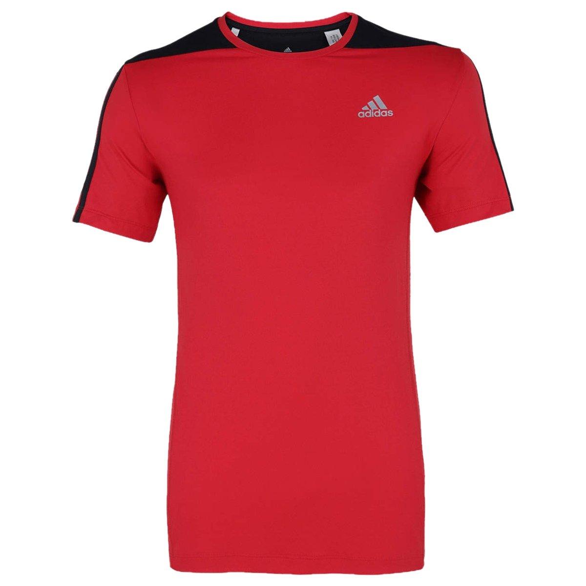 Bizz Store - Camiseta Masculina Adidas 3s Poliamida Vermelha 1a29484ee0e64