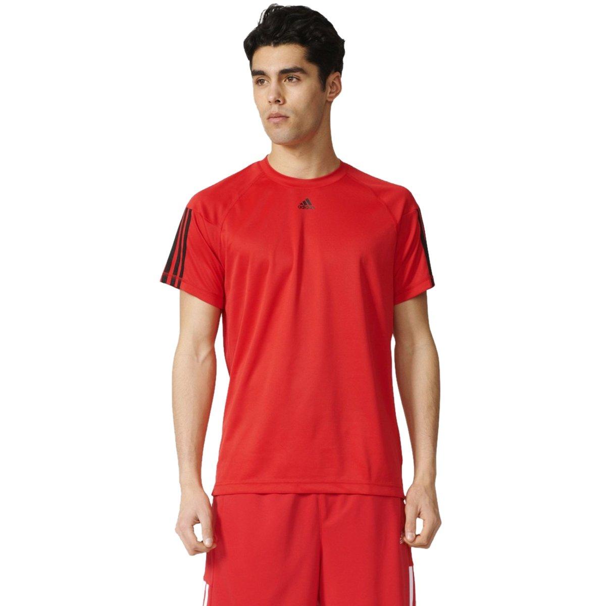 Bizz Store - Camiseta Masculina Adidas Base 3S Vermelho 3051de2c4142e