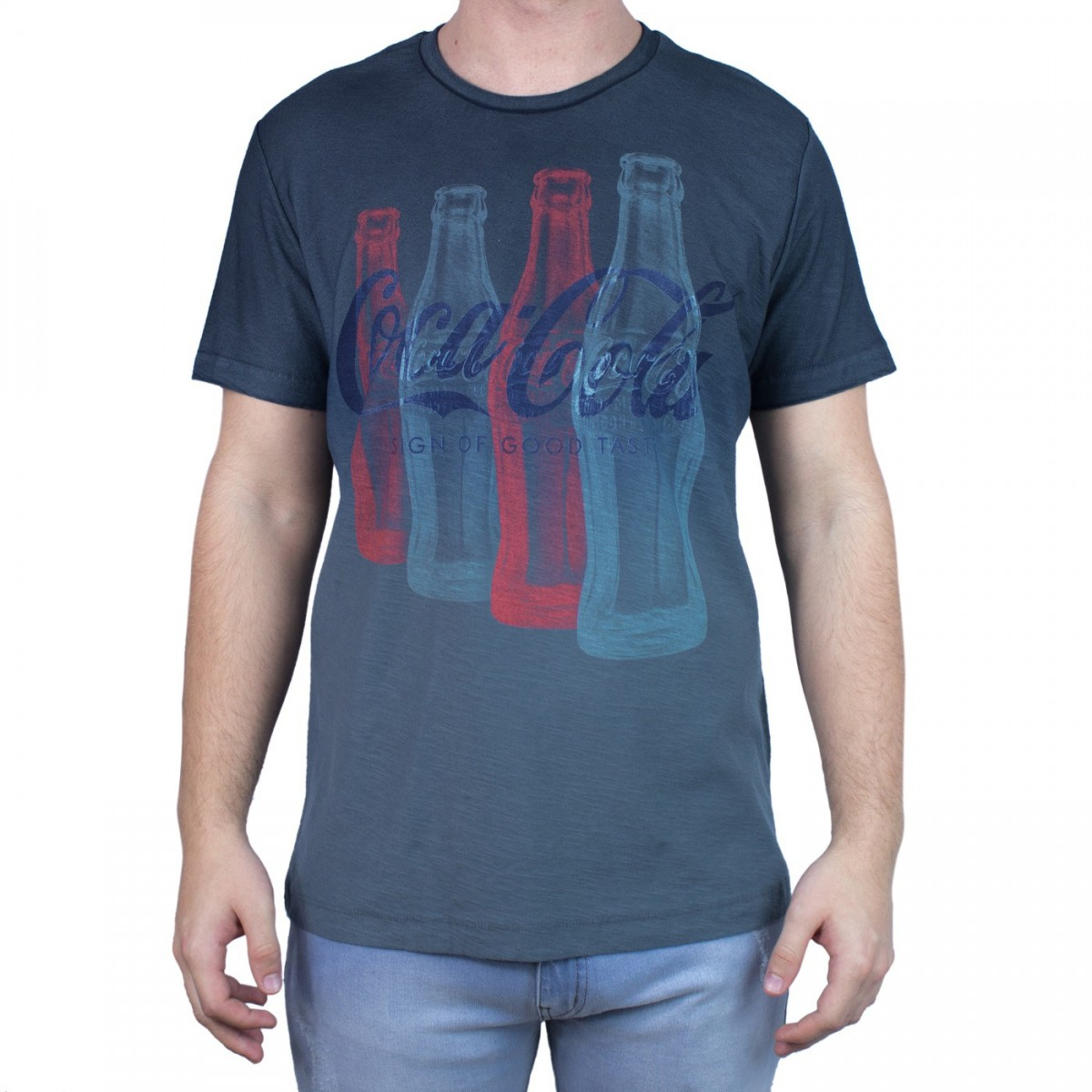 5ce05273ab Bizz Store - Camiseta Masculina Gola Redonda Coca-Cola Cinza