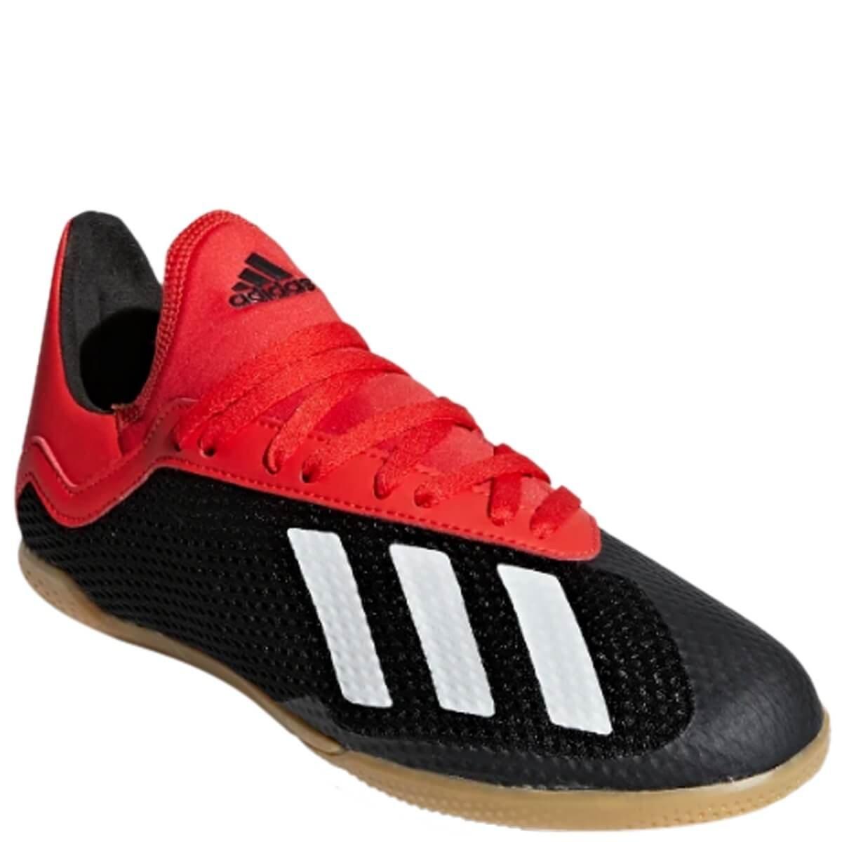 0f105980ae Chuteira Infantil Futsal Adidas X 18.3 Bb9395 - Preto Vermelho ...
