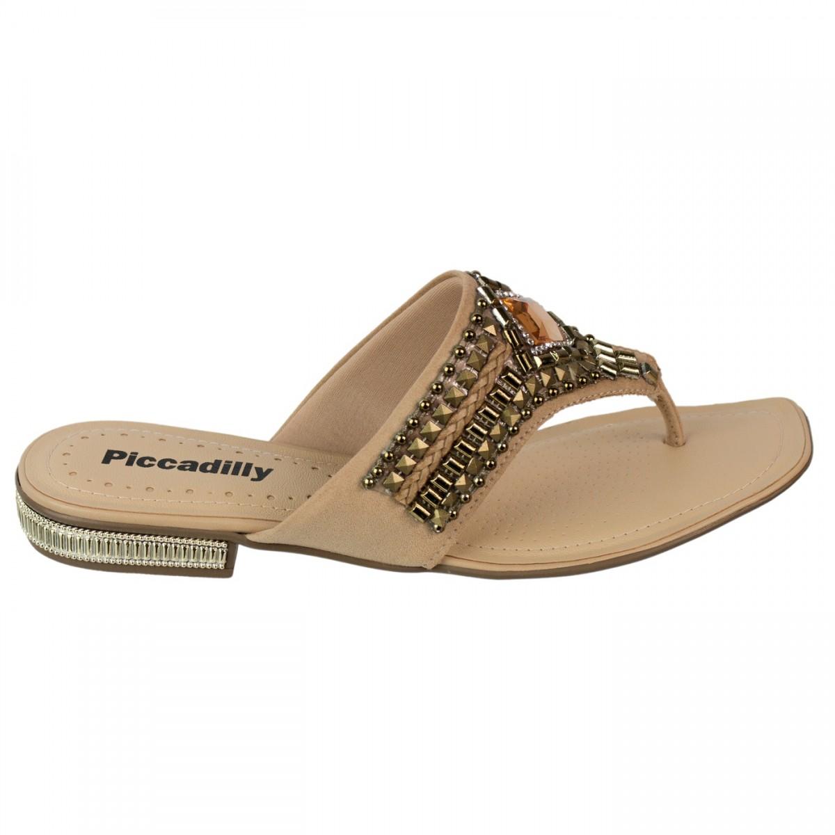 1068d4317d Bizz Store - Chinelo Rasteira Feminino Piccadilly Bege C  Pedras