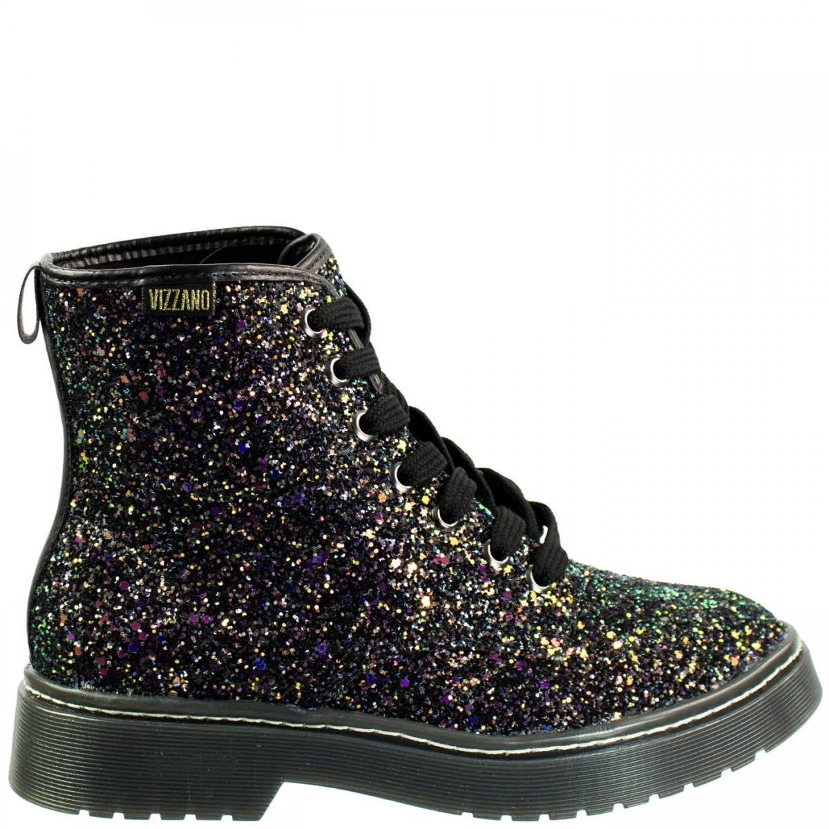 54406367bb Bizz Store - Coturno Feminino Vizzano Maxi Glitter Cano Curto