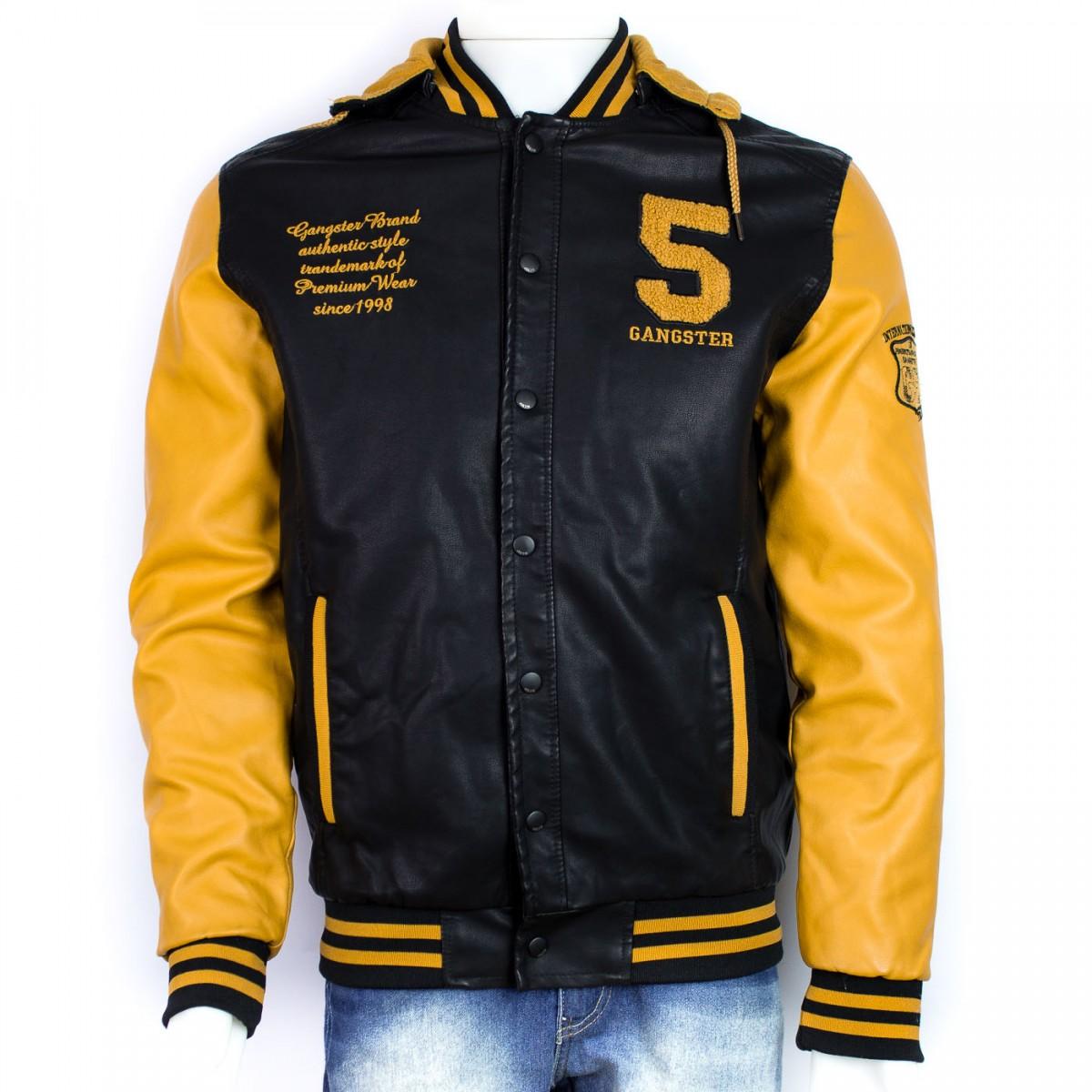 763d46ce9 Bizz Store - Jaqueta College Masculina Gangster Preta Couro