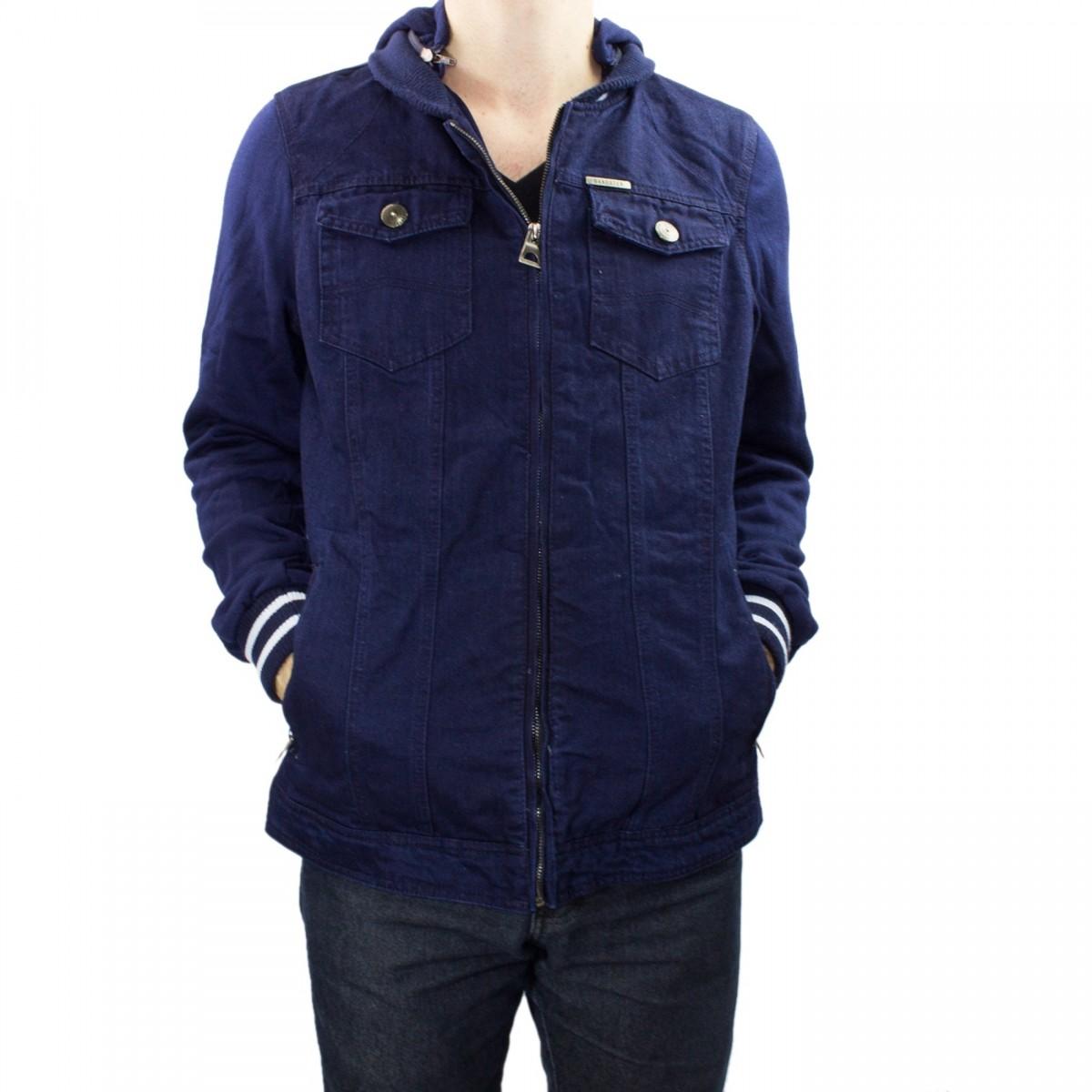 4003415b57 Bizz Store - Jaqueta Masculina Gangster Jeans Moletom Azul
