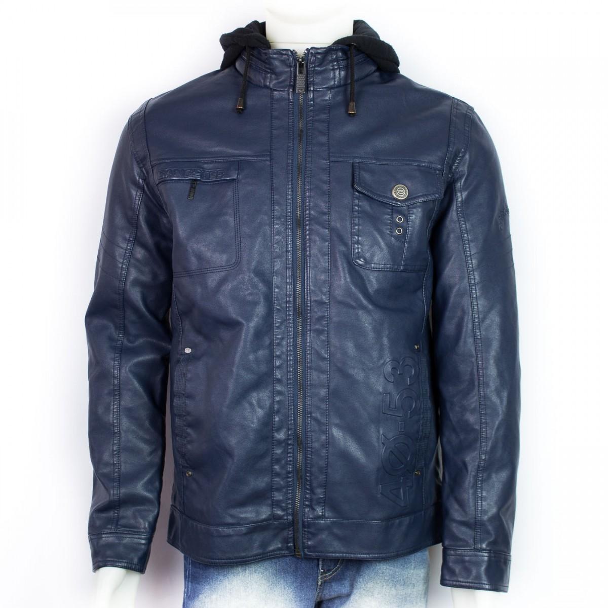 a457656808c04 Bizz Store - Jaqueta Couro Sintético Gangster Masculina Azul