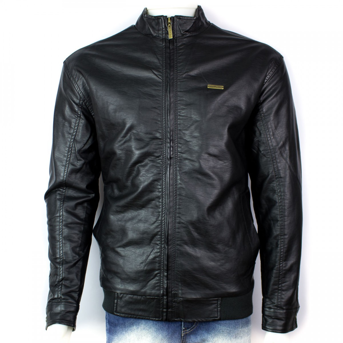 Bizz Store - Jaqueta De Couro Masculina Pierre Cardin Preta c9e2a9e2755