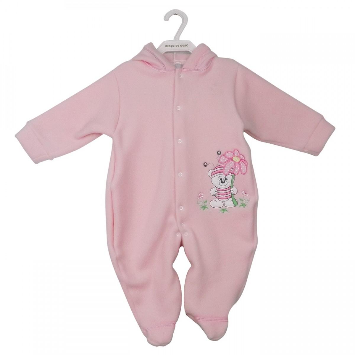 Bizz Store - Macacão Recém Nascido Berço de Ouro Soft Rosa Feminino 4a93a48932b
