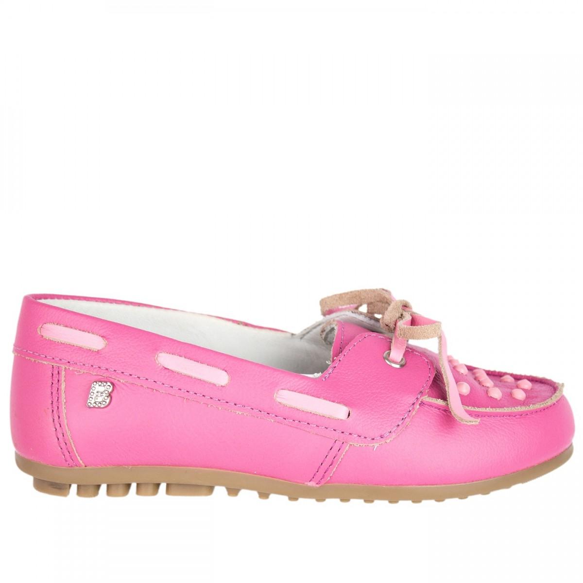 Bizz Store - Mocassim Infantil Feminino Bibi Couro Natural Rosa 9ddc5d077b41d
