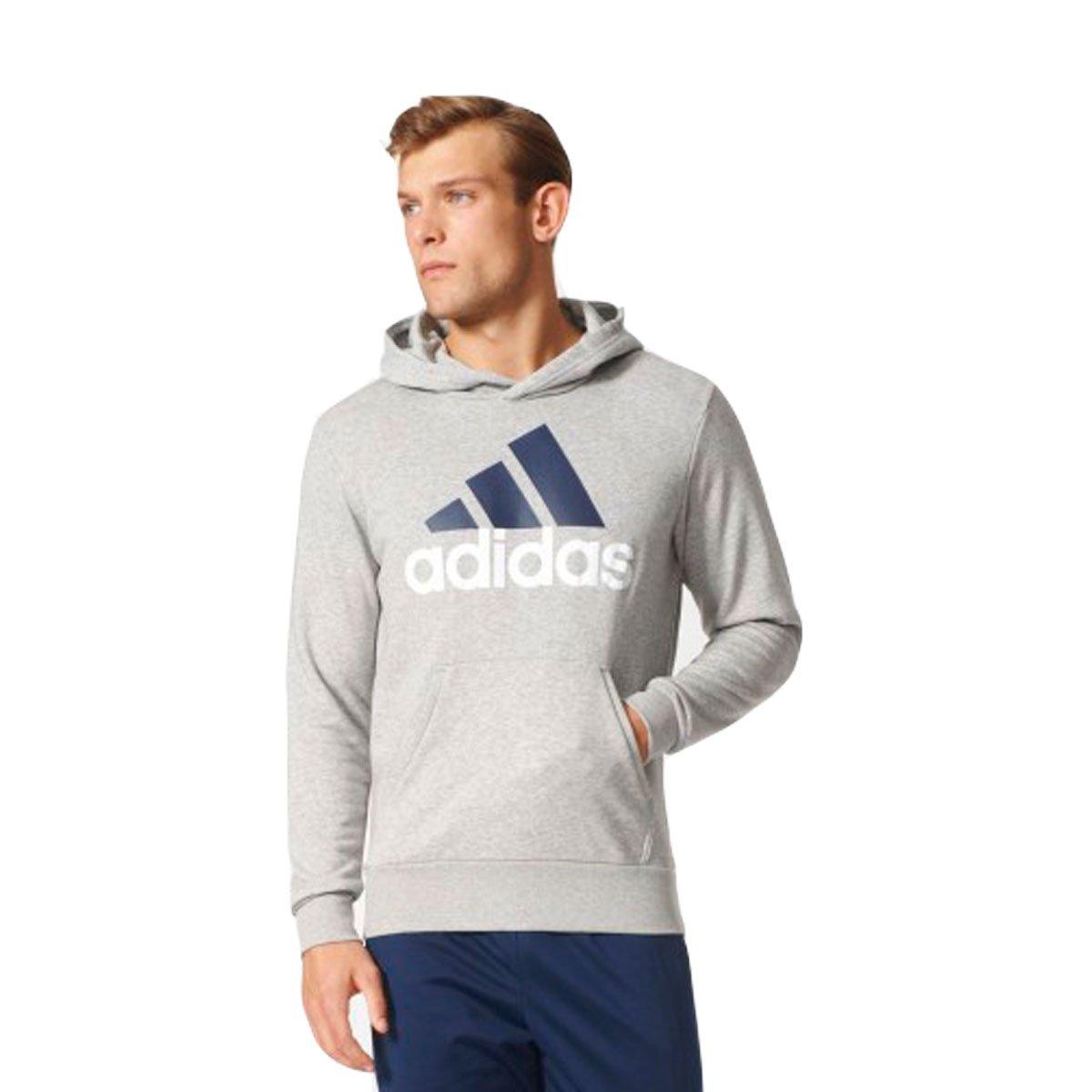 9e91b7d70b2 Bizz Store - Moletom Masculino Adidas Essentials Linear Cinza