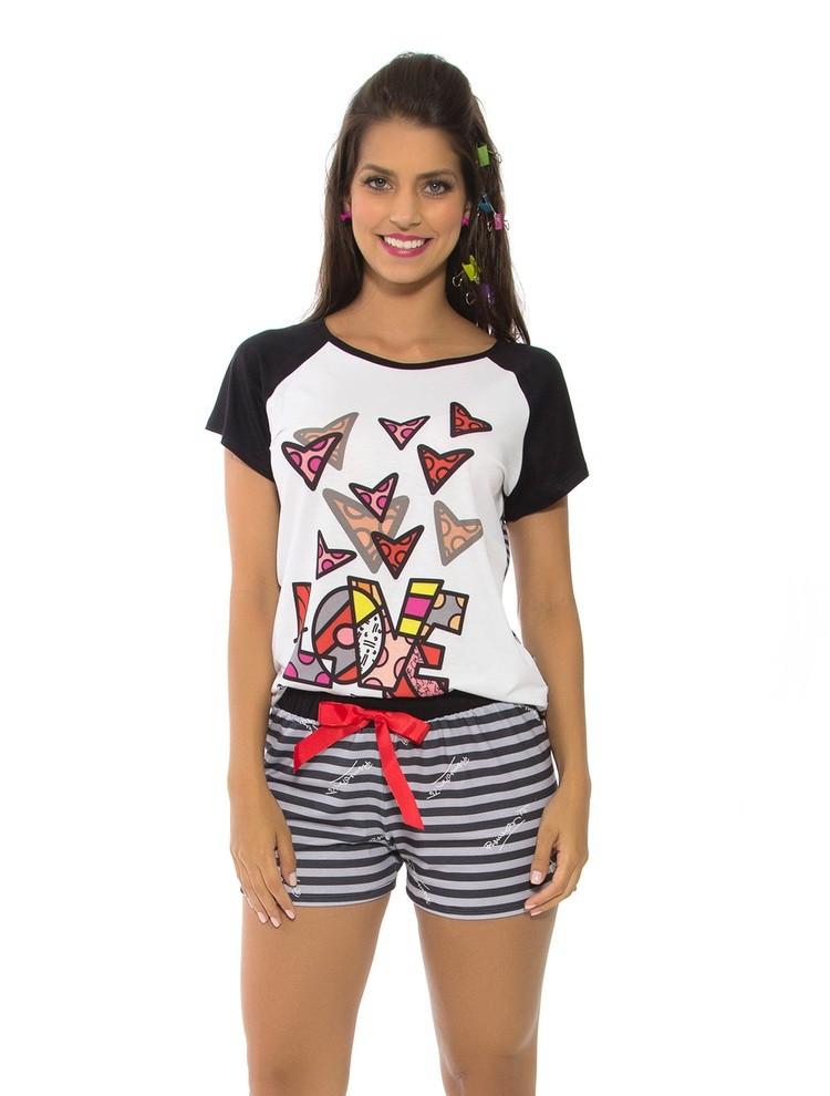 fa87cb0f6 Bizz Store - Pijama Curto Recco Feminino Verão Romero Britto