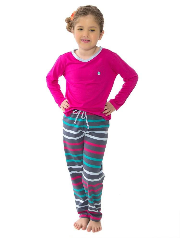 df0621091e Bizz Store - Pijama Infantil Feminino Recco Manga Longa Rosa