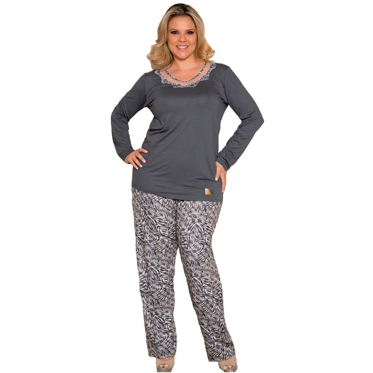 c99d8a407 Bizz Store - Pijama Feminino Inverno Recco Manga Longa 08370
