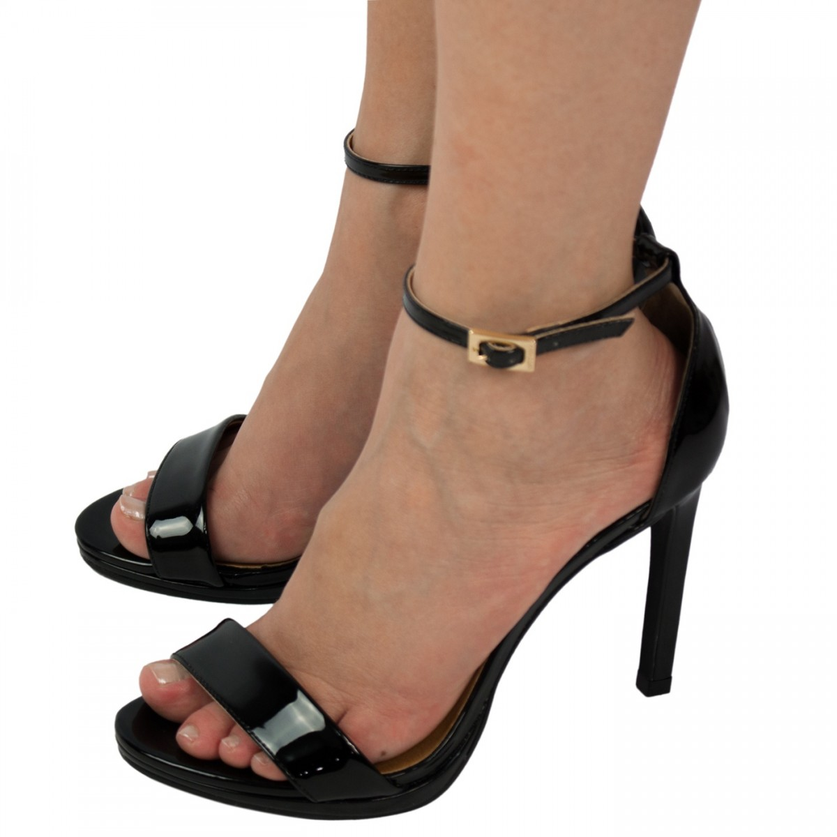 567110862 Bizz Store - Sandália Feminina Luz da Lua Preta Dourada Salto Alto