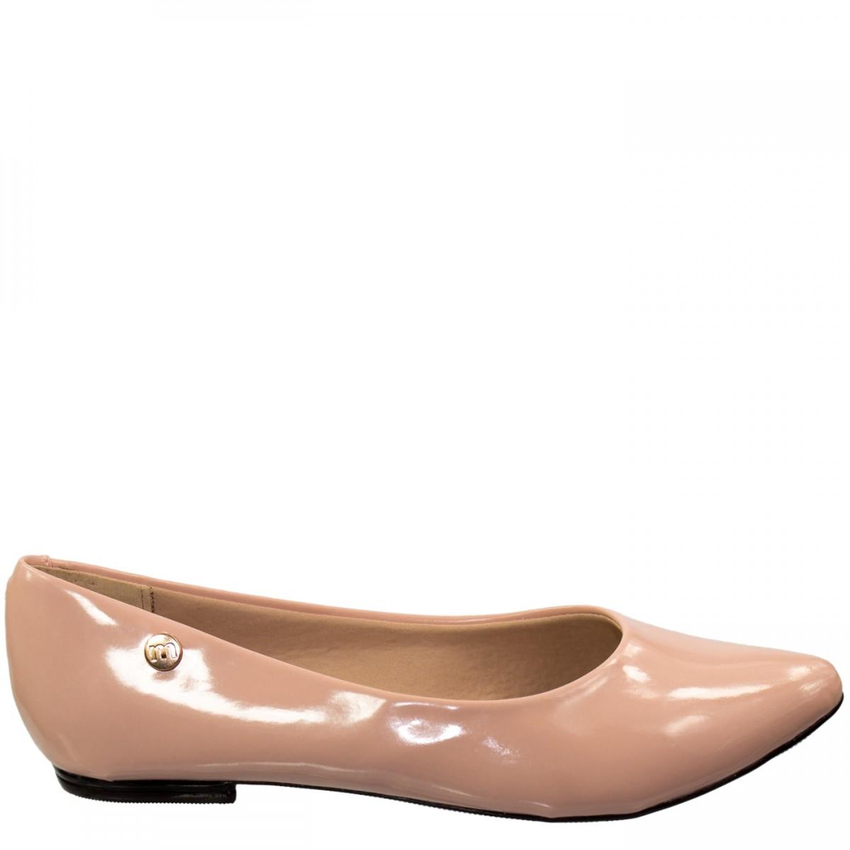 34e0a1742 Bizz Store - Sapatilha Feminina Moleca Verniz Nude Bico Fino