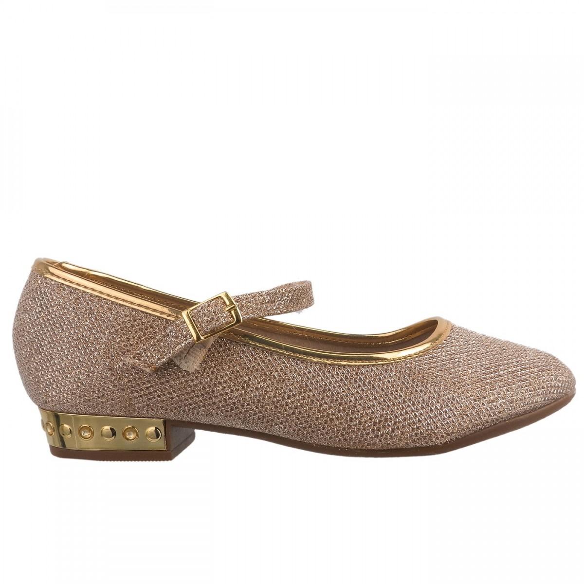 860efbf0a9 Bizz Store - Sapatilha Infantil Feminina Molekinha Dourada Brilho