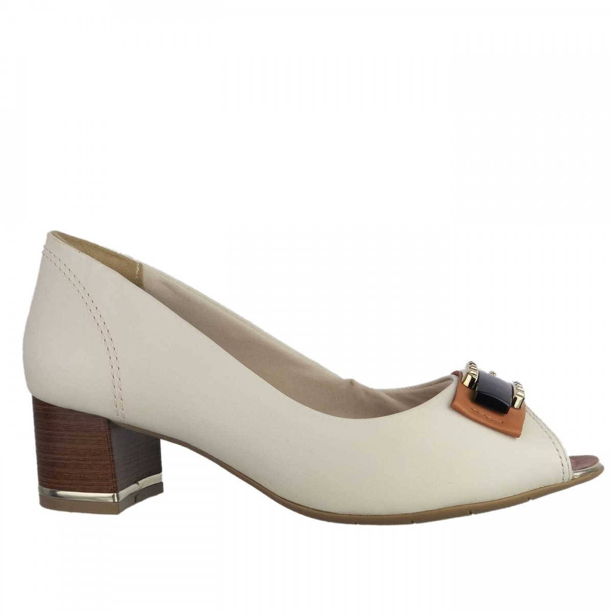 Bizz Store - Sapato Feminino Comfortflex Peep Toe Couro Salto Médio 63c9501f734cd