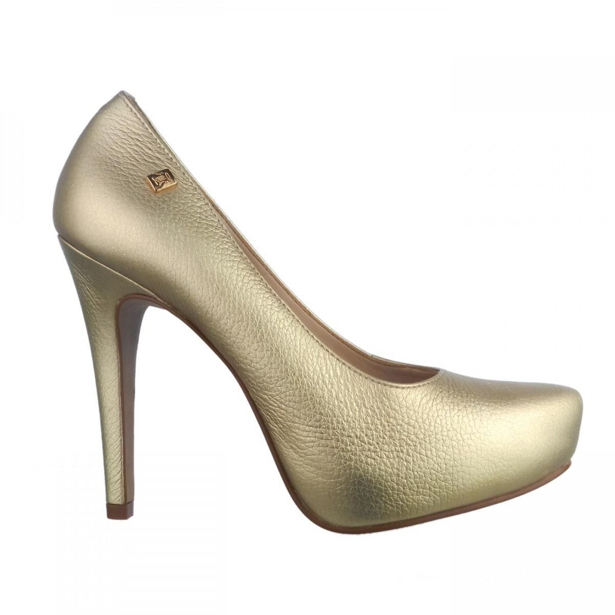 fd7ec2903 Bizz Store - Sapato Feminino Loucos e Santos Salto Alto Dourado