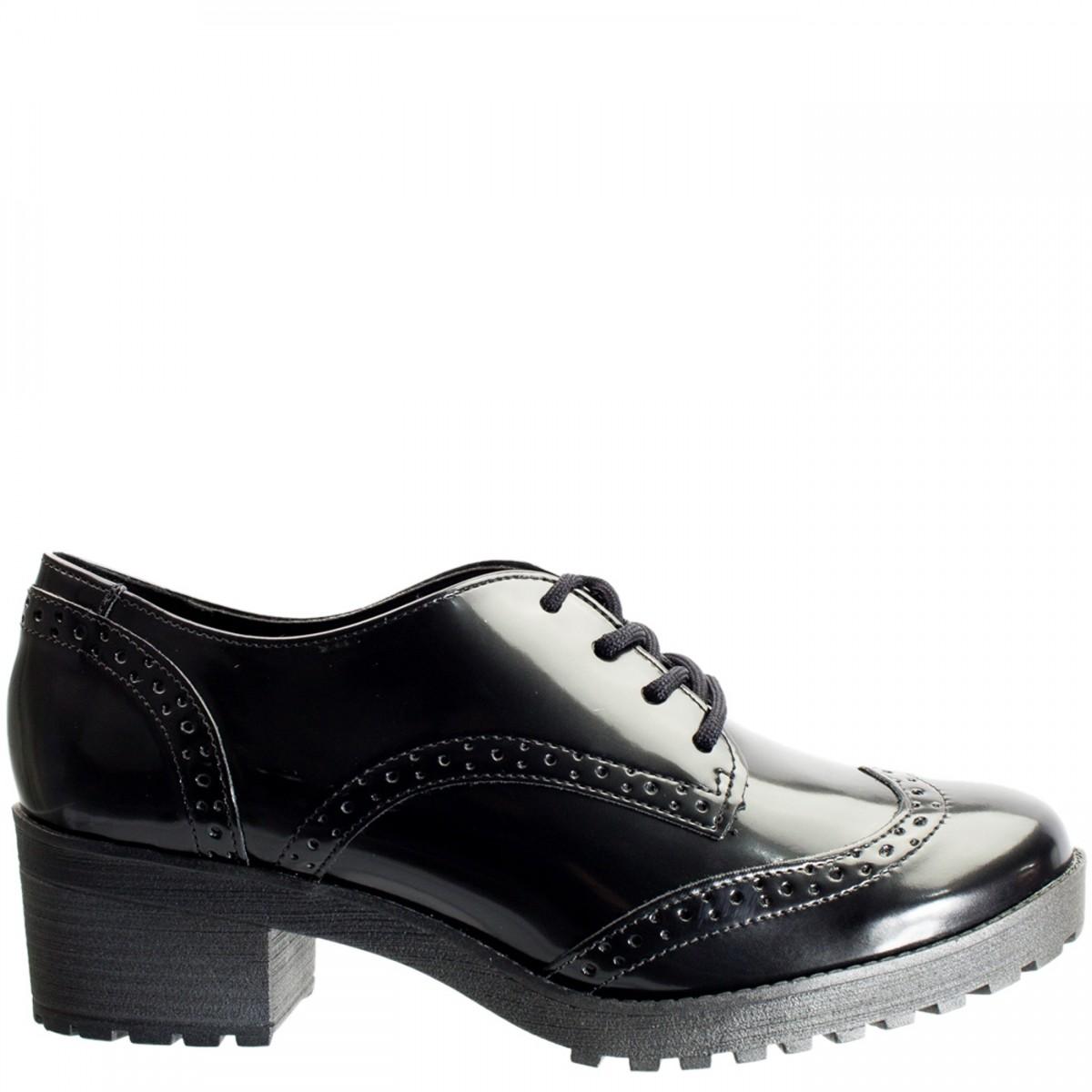 10e2a62412 Bizz Store - Sapato Oxford Feminino Via Marte Box Verniz Preto