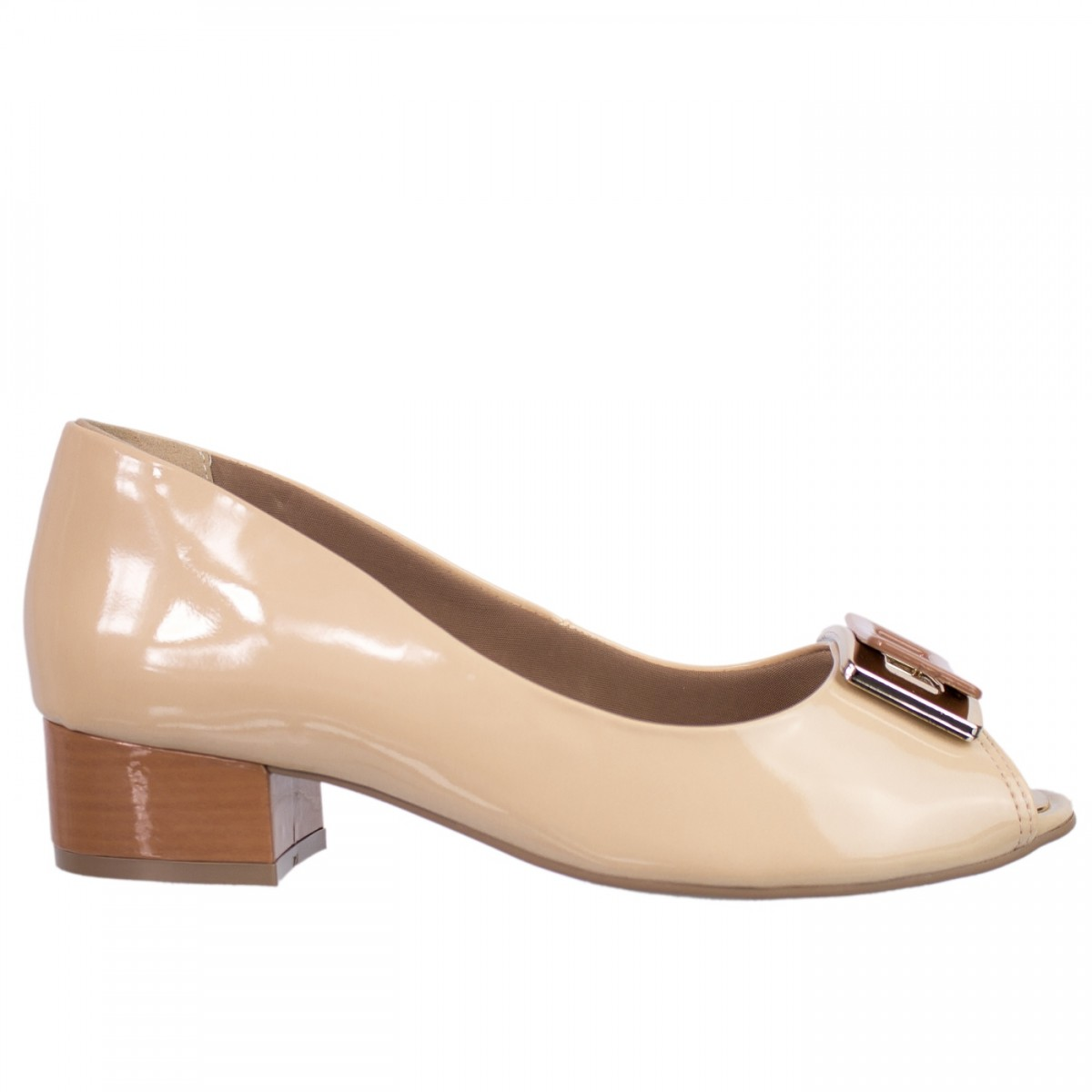 058927652 Bizz Store - Sapato Peep Toe Feminino Ramarim Caramelo Salto Baixo