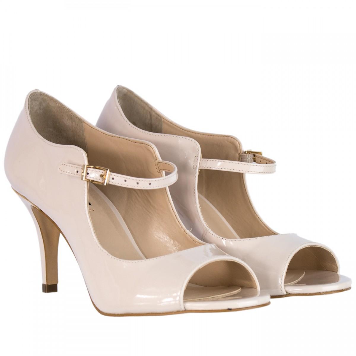 42923fe432 Bizz Store - Sapato Peep Toe Feminino Jorge Bischoff Verniz Nude