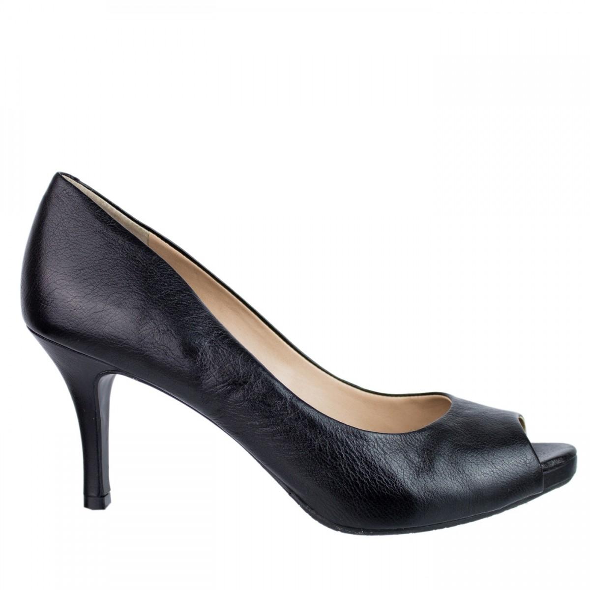 30c4270ee Bizz Store - Sapato Peep Toe Feminino Luz da Lua Salto Alto