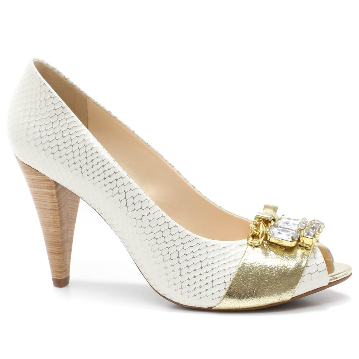 42ef217f05 Sapato Peep Toe Loucos e Santos L303340 Salto Alto - Off White ...